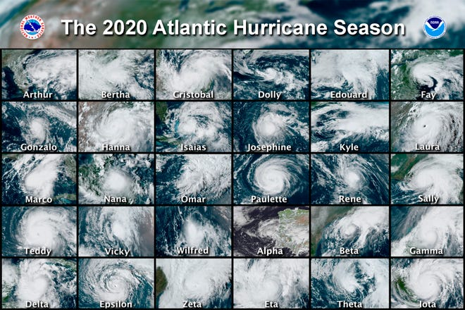 This combination of satellite images provided by the National Hurricane Center shows 30 hurricanes which occurred during the 2020 Atlantic hurricane season. According to a forecast by the U.S. National Oceanic and Atmospheric Administration released on Thursday, May 20, 2021, they expect another busy Atlantic hurricane season for 2021, but it won't be as crazy as the previous year's record breaker. (National Hurricane Center via AP, File)