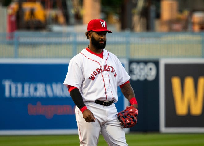 Danny Santana, on a rehab assignment with the Worcester Red Sox, plays third base against the Buffalo Bisons on Wednesday night at Polar Park.