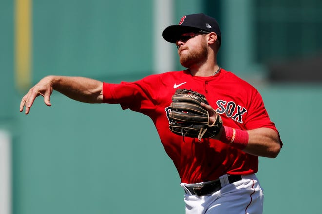 Boston Red Sox's Christian Arroyo plays against the Seattle Mariners during the fourth inning of a baseball game, Saturday, April 24, 2021, in Boston. (AP Photo/Michael Dwyer) ORG XMIT: NYOTK