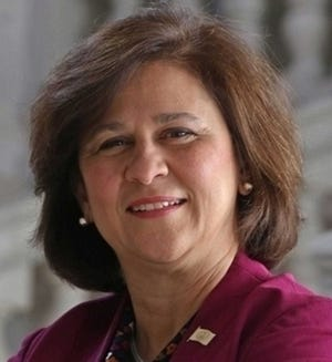 """Secretary of State Nellie Gorbea Wednesday accused Gov. Dan McKee of """"cronyism"""" for awarding a $5 million education contract to a consulting firm with ties toa longtime supporter."""