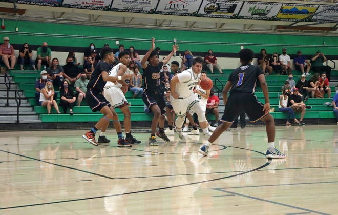 Teagan Self (3) dribbles along the arc late during the game against Serrano May 14, 2021