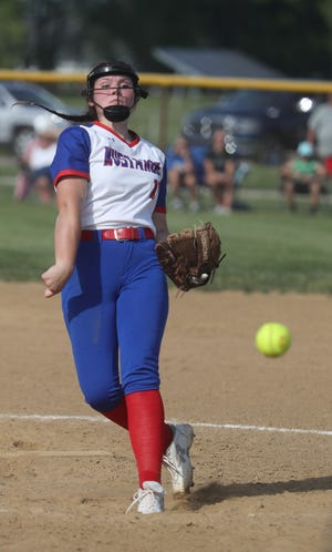 Tuslaw pitcher Nadia Hoffman delivers a pitch against Black River in their Division III district final at Norwayne High School Thursday, May 20, 2021.