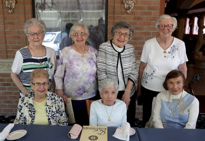 Members of the Mercy School of Nursing Class of 1951 celebrated their 70th anniversary since graduation. In attendance was seated from left, Jan Starrett, Lucy Beerer, and instructor Jacquie McClain; standing, from left, Louise Mraz, Marge Boron, Mary Cooke and Jane Bracht.