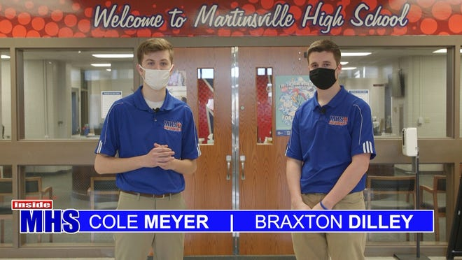 Cole Meyer and Braxton Dilley host an episode of Inside MHS, which is the school's video magazine show. The school won numerous awards at the Indiana Association of School Broadcaster's state competition and placed third for the the video school of the year.
