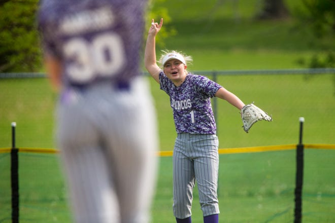 Orangeville centerfielder McKayla Riemer celebrates a play against Durand at Nick Saelens Memorial Park Thursday, May 20, 2021, in Durand.