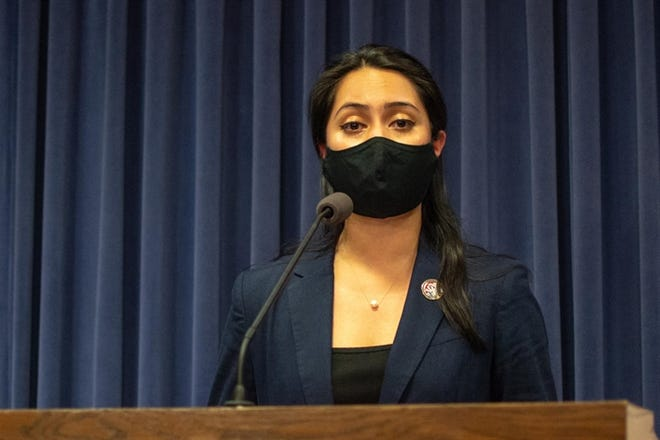 State Rep. Barbara Hernandez, D-Aurora, discusses her bill, which would require schools to provide menstrual products in all student bathrooms for grades 4 through 12, during a news conference Thursday, May 20, 2021, in Springfield.