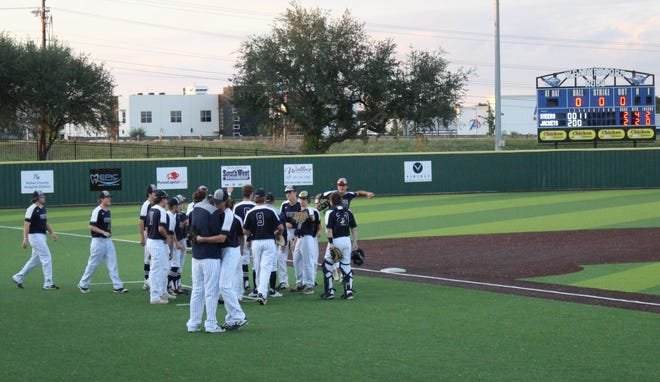 The Jackets celebrate a score during Thursday's 4-3 win over the Graham Steers in Weatherford.