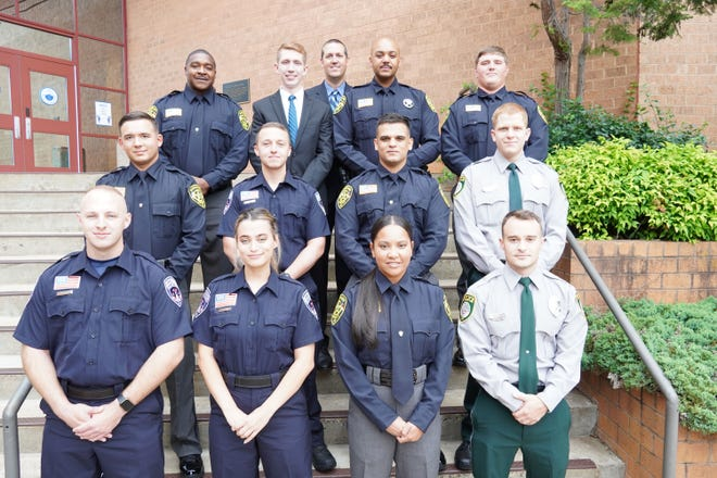 The Basic Law Enforcement Training program held a graduation ceremony on Friday, May 14. Pictured left to right: (row 1) Avery Bowen, Sarah Roach, Chase Falero, Noah Sale, (row 2) Austin Lesmeister, Eli Scarlett, Victor Medina, Sean Higgins, (row 3) Tracy Roberts II, Cullen Pitman, Sean Young Jr., Christopher Jones and (row 4) Aaron Vassey, law enforcement training coordinator.