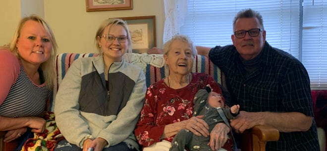 Kewanee family members, from left, Jennifer Lang, daughter Jordyn Schneider, grandmother Virginia Lang (holding her great-great grandson Grayson Schneider) and Jennifer's father, Eugene Lang, got together recently for a photo of all five generations of their family. Grandmother Lang's husband was Richard Lang, aka The Aluminum Man in Kewanee during the 60s and 70s, who died in 1976. Eugene still owns the house that Lang ran his business out of on Cambridge Road.