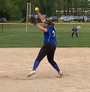 Brooklynn Root of Burr Oak delivers to the plate on Thursday evening against Climax-Scotts.