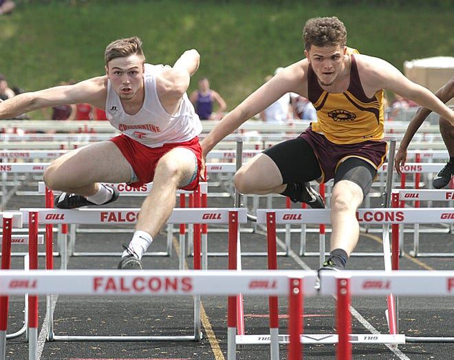 Ian Hulett of Constantine took first place in the 110 hurdles on Friday afternoon.