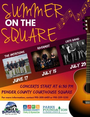 The town of Burgaw and Pender County Parks and Recreation are collaborating to offer the 2021 Summer on the Square concert series.