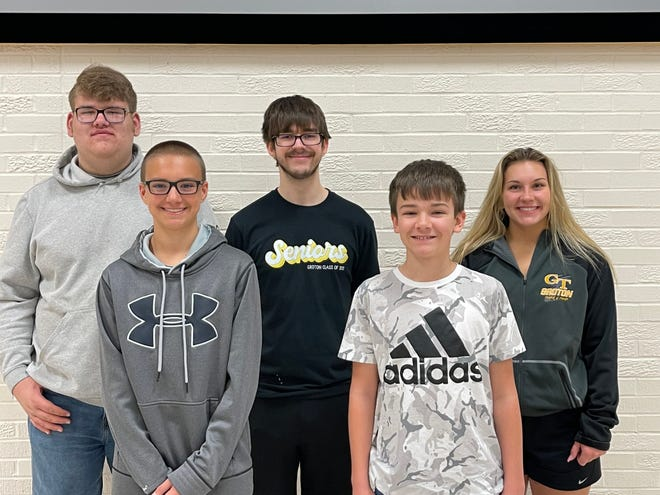 April students of the month at Groton Area School are, back row, from left, Corbin Weismantel, Braden Freeman, Trista Keith, front row, Jayden Schwan, Gavin Kroll, and not pictured Claire Heinrich and Ethan Clark.