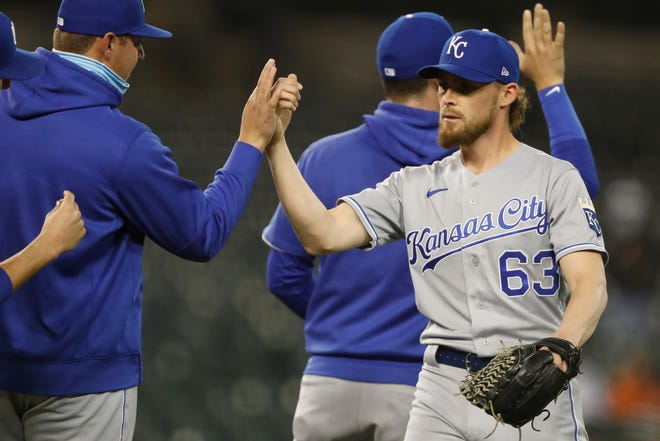 Kansas City Royals relief pitcher Josh Staumont (63) celebrates with teammates after their April 23 matchup against the Detroit Tigers at Comerica Park.