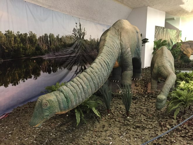Animatronic dinosaurs sit on display at the Sternberg Museum of Natural History.