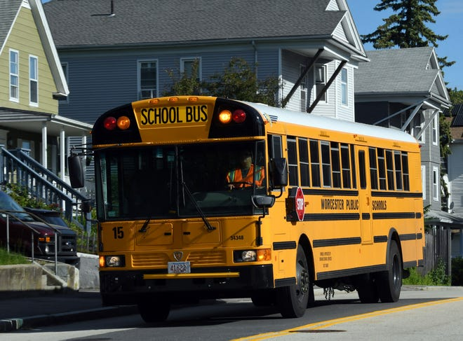 A school bus bound for Sullivan Middle School on Lovell Street in Worcester.