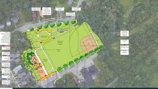 One of two renderings of proposed improvements to Wetherell Park/Duffy Field shown to a resident task force Wednesday.