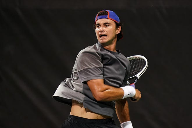Florida's Duarte Vale rallies to win his singles match Thursday against Texas A&M University at the NCAA D1 Tennis Championships at the USTA National Campus in Orlando.