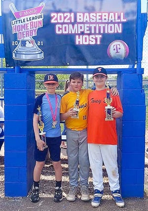Pictured are the top three finishers in the Conococheague Little League Home Run Derby.