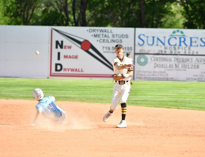 Pueblo East senior Kyle Miller attempts to complete a double play in the Eagles' 2-0 loss to Pueblo West Thursday, May 20, 2021 at the Runyon Sports Complex.