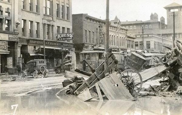 The Arkansas River flooded in June of 1921, causing devastation and death throughout Pueblo.