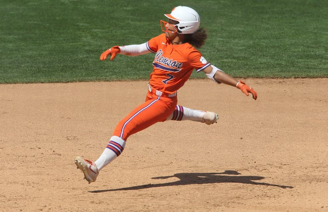 Clemson's McKenzie Clark, who had the go-ahead RBI single and then scored the winning run, also threw out a runner from center field.