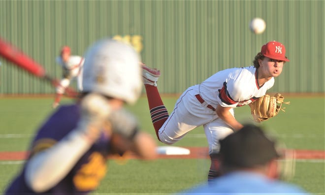 Jim Ned pitcher Tate Yardley throws a pitch to an Early batter in the fourth inning. Yardley struck out 14 in 6.2 innings to get the win in the Indians' 3-2 victory over the Longhorns in the one-game Region I-3A quarterfinal playoff May 20 at Brock.