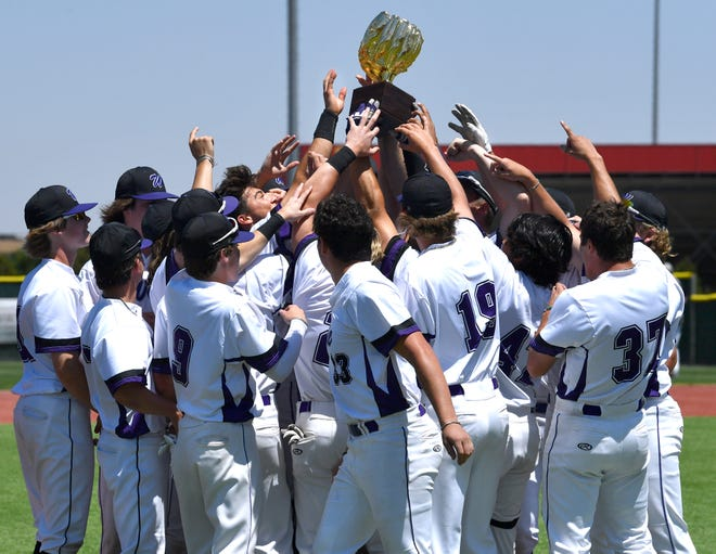 The Bulldog baseball team celebrate their 17-7 win over Randall Friday at Pirate Field in Woodrow.