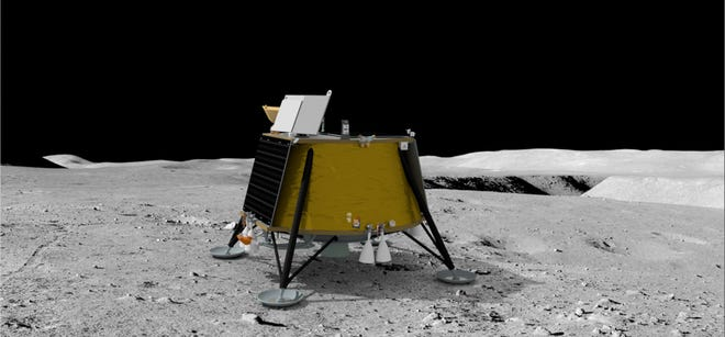 Firefly Aerospace's Blue Ghost lunar lander, seen here in an artist's rendering, was selected by NASA to deliver 10 science payloads to the lunar surface.