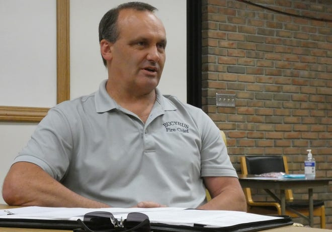 Bucyrus fire Chief Chad Schwemley addresses council members during Thursday's regular joint committee meeting of Bucyrus City Council.