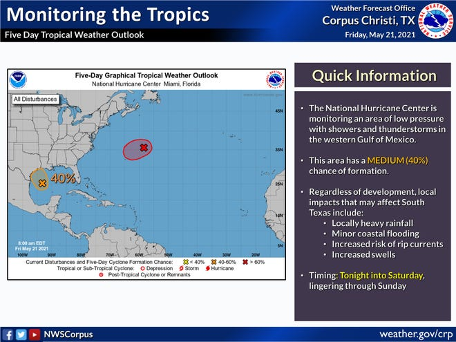 The National Weather Service in Corpus Christi announced a disturbance in the Gulf of Mexico that has a 40% chance of formation at 7:20 a.m. Friday, May 21, 2021. South Texas will experience some heavy rainfall, minor coastal flooding and increased swells.