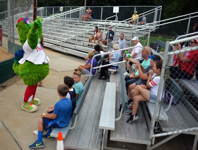The Phillie Phanatic gets a warm reception from scattered fans during the Bridgeton Invitational in 2016. The tournament has seen dwindling attendance for several years.