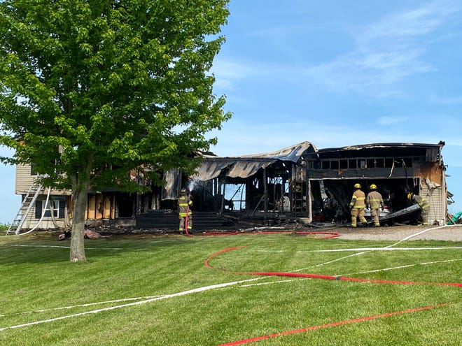 Fire consumed this home on County Road 14 Friday afternoon.