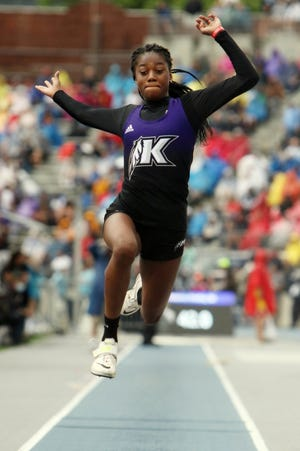 Keokuk High School's Miracle Ailes competes in the Class 3A girls long jump during the second day of the 2021 Iowa High School Track and Field Championships Thursday May 20, 2021, at Drake Stadium in Des Moines.
