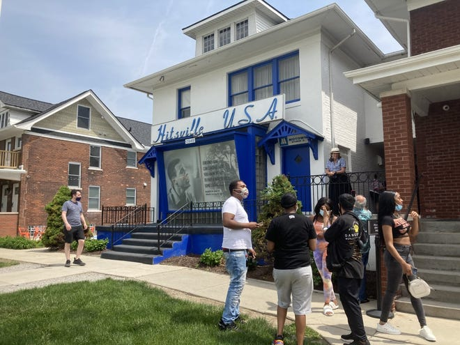 """Fans gather outside the Motown Museum in Detroit on May 21, 2021, the 50th anniversary of Marvin Gaye's """"What's Going On"""" album."""