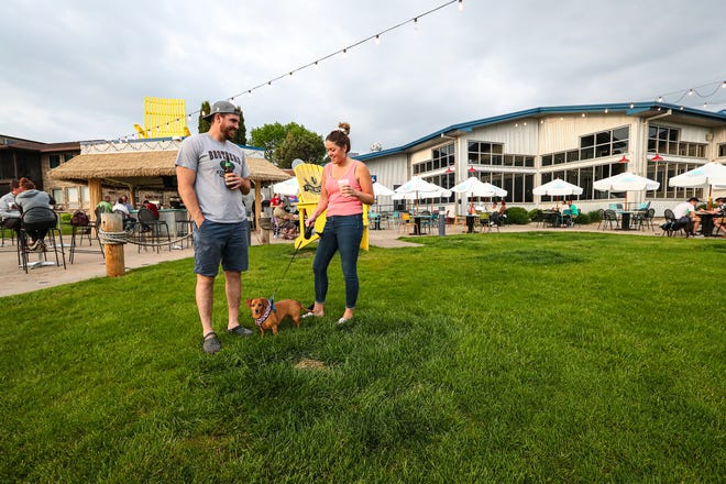 Dogs are welcome on the beer patio at Fox River Brewing Company.