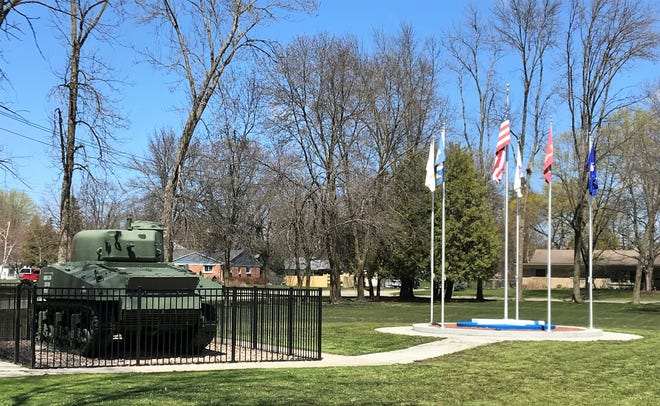 The first phase of the Oconto County Veterans Memorial is seen next to the tank at the Beyer Home Museum property in Oconto.