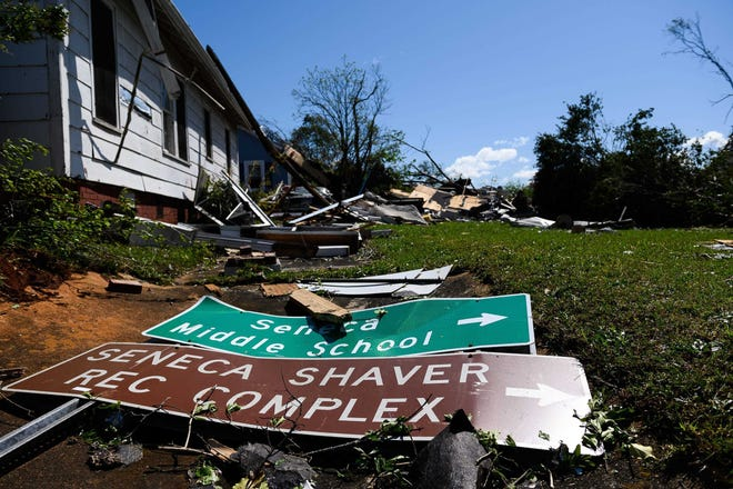 A severe storm that brought a tornado to the area destroyed many homes and structures in Seneca on Monday, April 13, 2020.