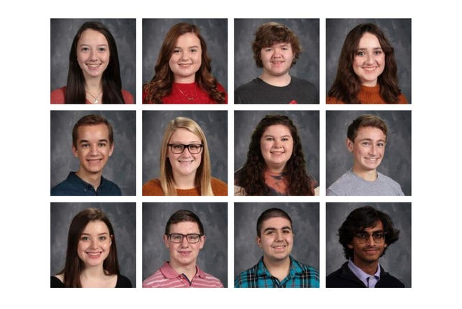 Pictured from top left are Valedictorians Natalie Hutchinson, Margaret Privette and James Reid; Salutatorians Sydney Curneal, Shane O'Nan, Krista Gardner, Emily Marsh, John Phillips, Brenna Staser, Avery Wagner and Andrew Russell; and White Robe recipient Dave Patel
