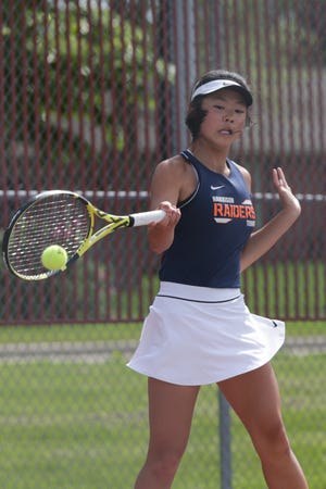 Harrison's Emma Gu hits the ball during an IHSAA sectional tennis singles match, Thursday, May 20, 2021 in West Lafayette.