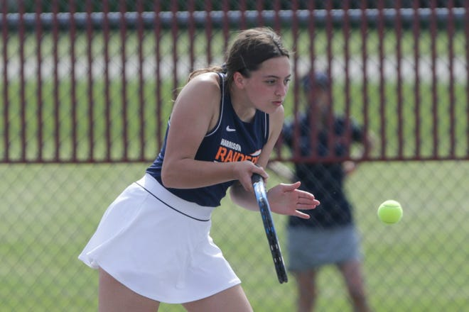 Harrison's Hannah Koutsouros hits the ball during an IHSAA sectional tennis doubles match, Thursday, May 20, 2021 in West Lafayette.