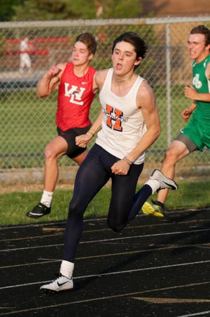 Harrison's Connor Czajkowski competes in the 200 meter dash during the West Lafayette Boys Track Sectional, Thursday, May 20, 2021 in West Lafayette.