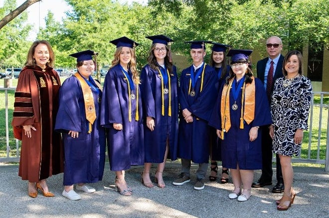 Six Acadia Parish high school seniors graduated with their associate's degree from LSU Eunice on Friday, May 14, 2021.