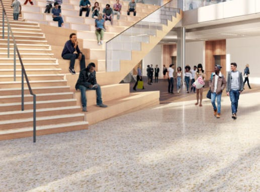 """The expanded Wisconsin Center's lobby will include a wide """"collaborative staircase"""" with space for people to sit."""