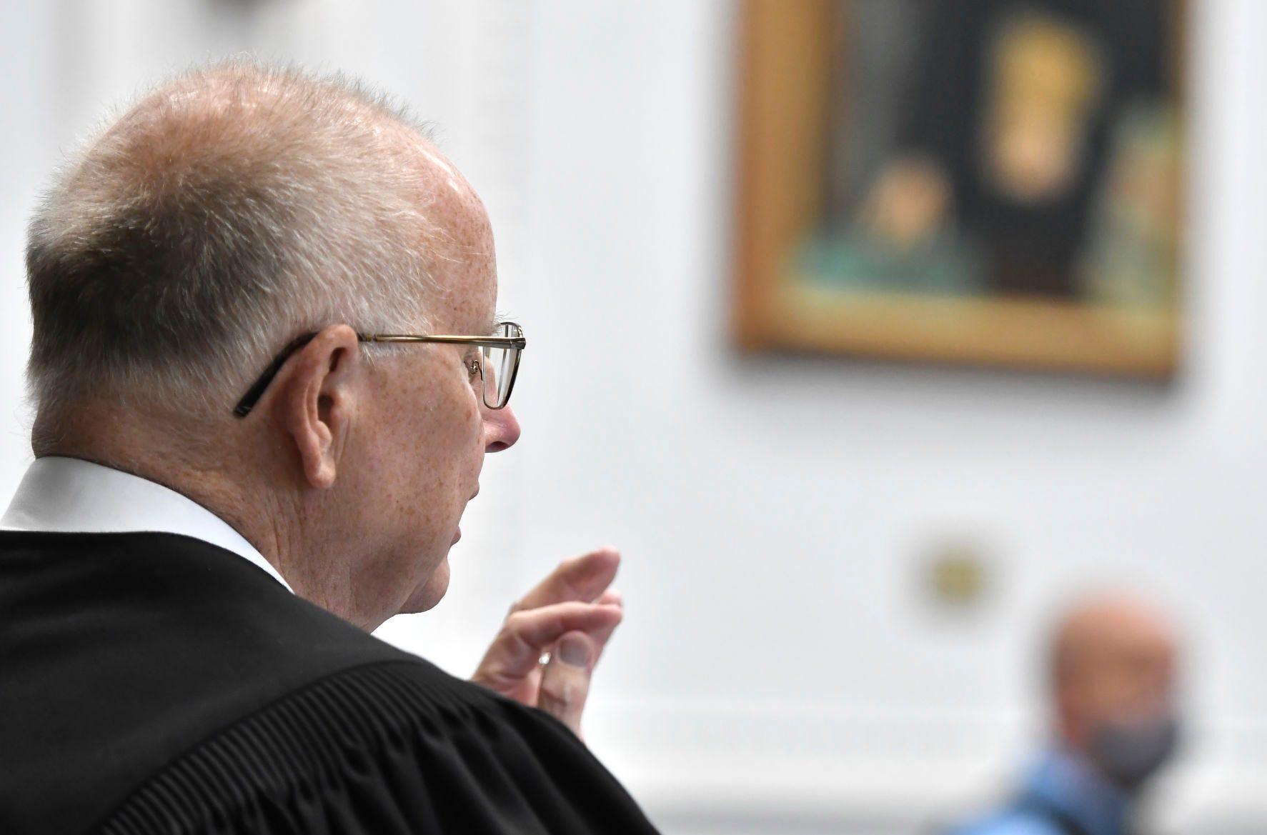 Kenosha County Circuit Court Judge Bruce E. Schroeder speaks during Kyle Rittenhouse's pretrial hearing May 21, 2021 at the Kenosha County Courthouse.