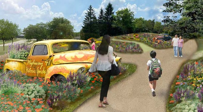 This rendering shows the entrance to the planned classic car garden at Wilson Park.