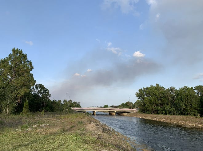 Crews are battling a 150-acre brush fire in theFrangipani Avenue area in Golden Gate Estates with several homes nearby, according to the Florida Forest Service.