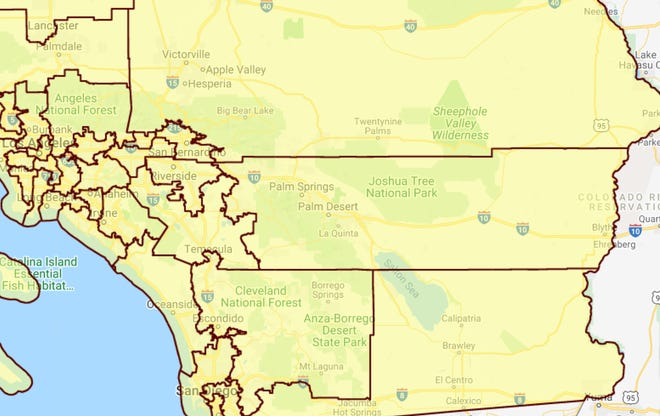 This map shows California's Congressional districts after the 2011 redistricting process, the first under the independent California Redistricting Commission. The process united the Coachella Valley under one district. Previously, Desert Hot Springs was in a separate district than the other eight Coachella Valley cities.