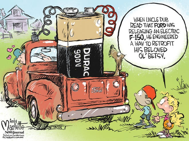 Marlette cartoon: Ford's famous trucks go electric