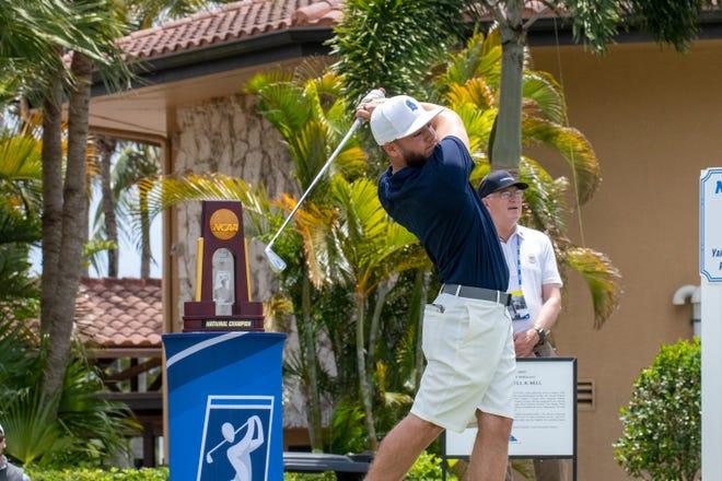 UWF's Carlos Marrero hits a tee shot at the 2021 NCAA Championships in Palm Beach Gardens.